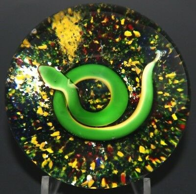 """LARGE Exquisite BACCARAT Vintage GREEN Garden SNAKE Art Glass PAPERWEIGHT 3.4"""""""