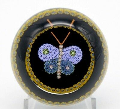 Delightful PERTHSHIRE Millefiori Canes Lilac BUTTERFLY Art Glass PAPERWEIGHT