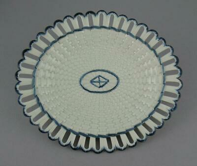 Antique Late 18th C. Wedgwood Pearlware Reticulated Basket Weave Platter 9 3/4""