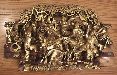 """Antique Chinese deep relief gilt wood panel carving Imperial warriors 13x21.5"""""""