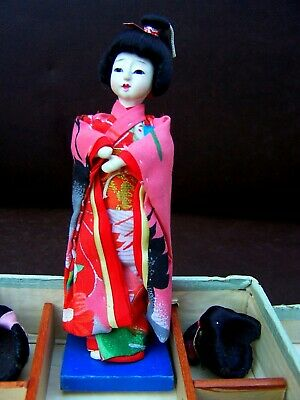 Antique Vintage Hanako Japanese Doll With Five Wigs And Original Box