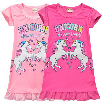 Unicorn Kids Girls Skirt Nighti Sleepwear T-shirt Pyjama Silk Fabric New