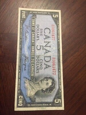 SHES A CLEAN GIRL------- Bank of Canada 1954 $5 Five Dollars Devil's Face VF