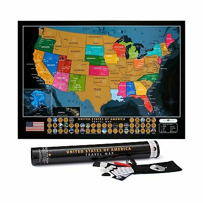 Scratch Off United States Map – with US National Parks & 50 USA Landmarks – I...