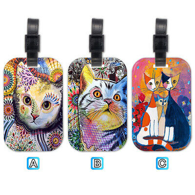 Cat Kitten Oil Painting Wood Luggage Tag Suitcase Trip Travel Bag