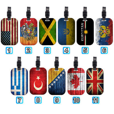 United States Kingdom National Flag Wood Luggage Tag Suitcase Trip Travel Bag
