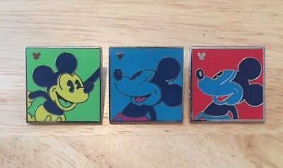 3 Disney Pins-Neon Hidden Mickey-Green-Blue-Red-Andy Warhol Inspired-Authentic