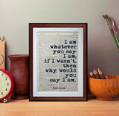 Eminem Quote Dictionary Page Art Print Wall Art Print Book