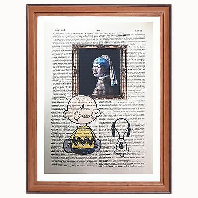 Charlie Brown & Snoopy Vs Johannes Vermeer - dictionary art print Pearl earring
