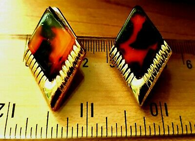 Leopard / Tortoiseshell / Tiger Stripes Design Geometric Retro Vintage Earrings