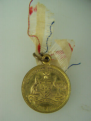1911 Commonwealth Celebrations George V Coronation Gilt Medallion & ribbon 3270