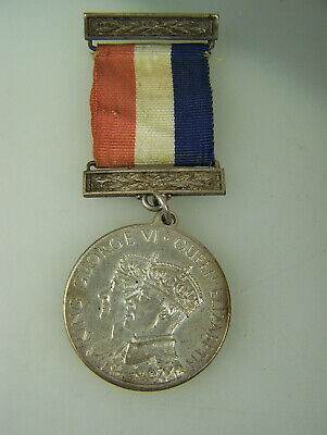 Coronation medal & ribbon King George VI Queen Elizabeth 1937 Isle of Mann   642