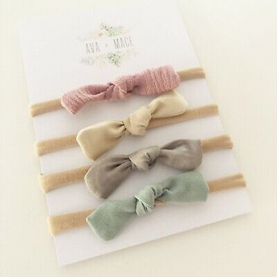 4 X Bow Headband Pack Dusty Pink Sage Ivory Grey Nude Nylon Baby Newborn Girl