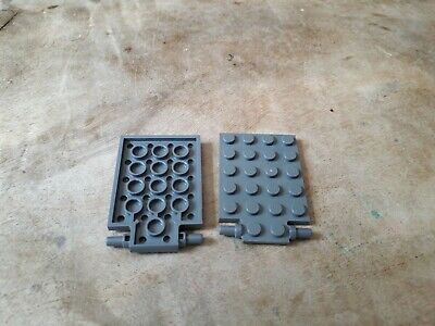gris dark grey 4 x LEGO 92099 Plaque Trappe Plate 4x6 With Trap Door Hinge NEW