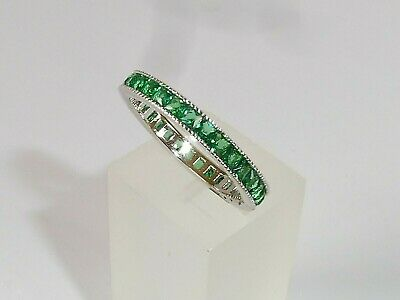 Ladies Art Deco Style 925 Sterling Solid Silver Green Emerald Full Eternity Ring