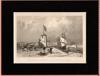 Vintage Print ~ SUNDERLAND HARBOUR from PIER County Durham ~ ALLOM Mounted 1834