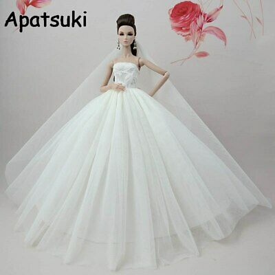 Pure White Doll Dress For Barbie Doll Clothes Long Tail Gown Wedding Dress 1/6