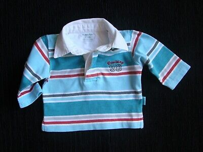 Baby clothes BOY 0-3m polo shirt, teal/white/red stripes long sleeves SEE SHOP!