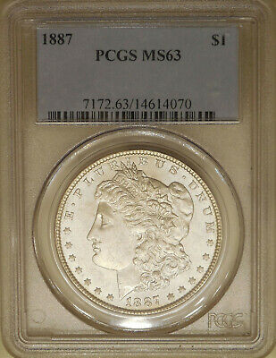 1887 Morgan Silver dollar PCGS MS-63 uncirculated great luster blast white