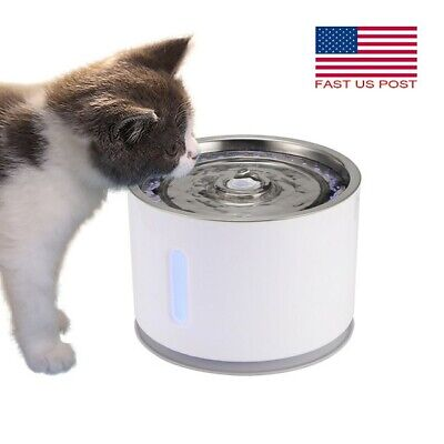 Usb Pet Water Fountain For Cat Dog Automatic Food Bowl Dish Feeder Dispenser Led