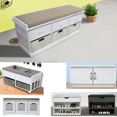 Wooden Shoe Cabinet Storage Bench Seater Cupboard with Removable Cushion Unit