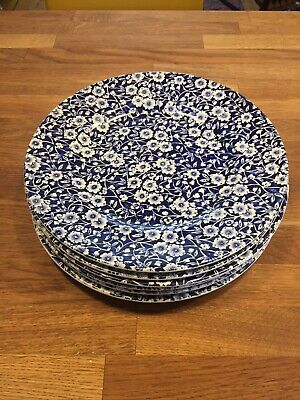 Burleigh Blue Calico Dinner Plates x 6, 26.5cm, perfect condition
