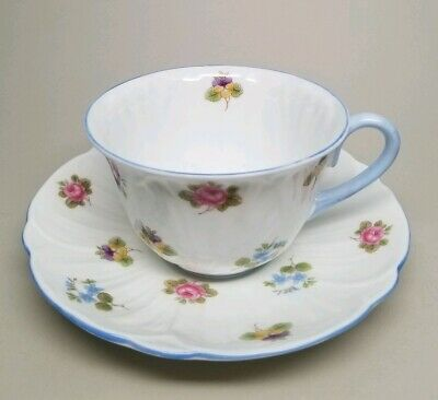 SHELLEY Rose Pansy Forget Me Not (Oleander) 13424 TEA CUP & SAUCER SET Blue Trim