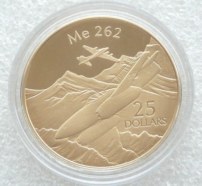 2005 Solomon Islands $25 1oz Silver .999  Proof Coin   Me 262  Plane gold plated