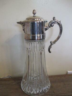 Lovely VTG Antique Silver Plated Heavy Lead Pressed Glass Water Pitcher Carafe