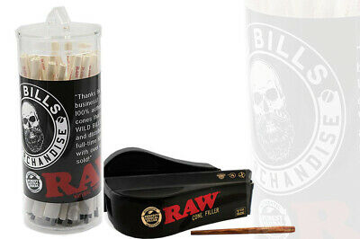 RAW Organic 1 1/4 Size Pre-Rolled Cones with Filter 75  Plus Raw Cone Filler