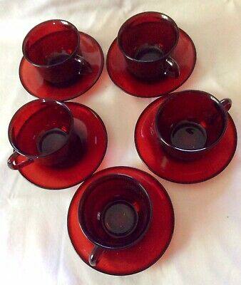 5 Sets Vintage Ruby Red Glass ARCOROC France Coffee/Tea Cups and Saucers