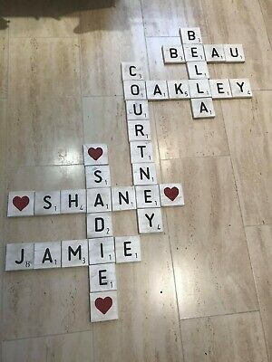 Large Giant Big Oversized Shabby Chic Scrabble Letters Tiles - Rustic Solid Wood