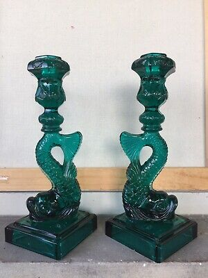 VTG Set Of Imperial MMA Glass Dolphin Koi Fish Candle Candlesticks Emerald Gre