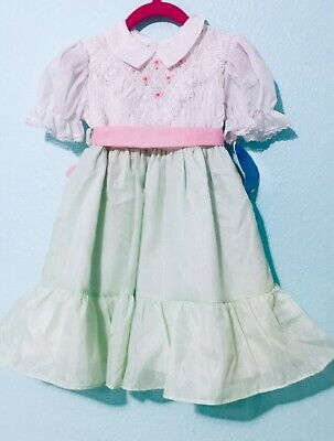 4701b214c512 Vtg Polly Flinders Dress Hand Smocked Sz 4T Toddler Green NWT New w/ Tags