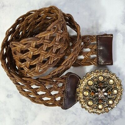 Cache Womens Leather Woven Belt Large Round Antique Gold Jewel Buckle Boho