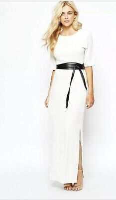 54d052741d58 Oasis White Maxi Dress With Leather Look Belt And Side Split Size M UK12/14