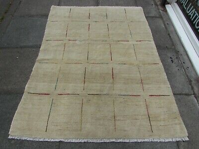 Old Traditional Hand Made Persian Oriental  Wool Cream Gabbeh Rug 179x134cm