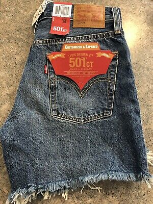 a5e25cf1 NWT Levi's Womens 501 CT SHORTS size 26 Customized & Tapered w/Fringe  Selvedge