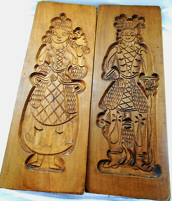 Old Vintage Antique Hand Carved Wood BIG COOKIE MOLD PAIR Springerle