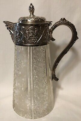 Antique Cut Glass Pitcher / Wine Decanter with Repousse Silver Top & Handle