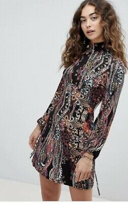22f9cd8c57 Free People All Dolled Up Paisley Mini Dress Black Multicolor XS Long Sleeve