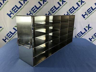 "Stainless Steel Freezer Rack L 21.75""x W 5.5""""x H 11"" w/ 20- 2"" boxes"