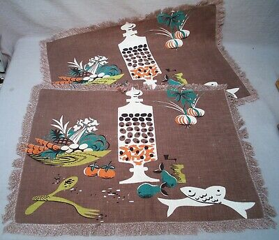 Pair Vintage Mid-century Semi-Abstract Placemats ~ Fish, Olive Jar, Vegetables