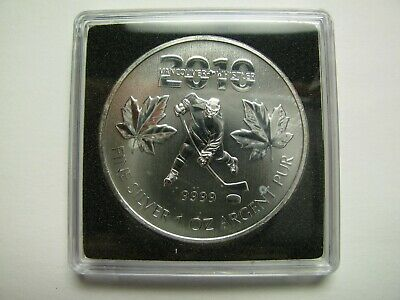 2010 Bullion $5 Vancouver Olympics #3-Hockey Player 1oz .9999 Silver SML Canada