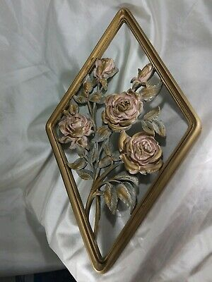 Vintage SYROCO WOOD Gold Wall Plaque Ornate Floral Roses Decorative Hanging