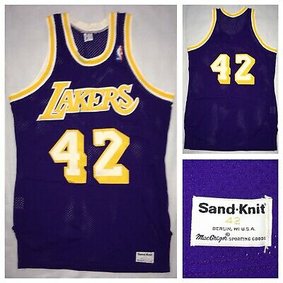 05920a7ac63 VTG Los Angeles Lakers Sand Knit AUTHENTIC #42 James Worthy Purple Jersey  L/48