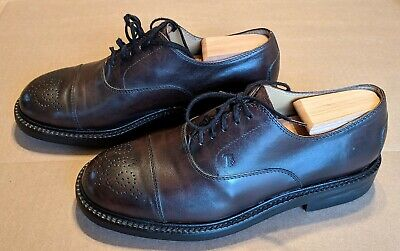 19f95365ac Tods Made In Italy Mens Oxford Brown Leather Brogue Wingtips Shoes Sz 8 Us  7 It