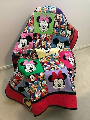 Handmade Patchwork Baby Cot Quilt - Mickey / Minnie and Friends