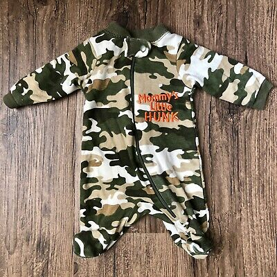 4b817b05385e6 Carter's Baby Boy Preemie Outfit Sleeper Camo Camouflage Mommy's Hunk Reborn
