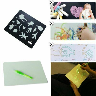 PVC Draw With Light In Darkness Child Sketchpad Toys Luminous Drawing Board #3